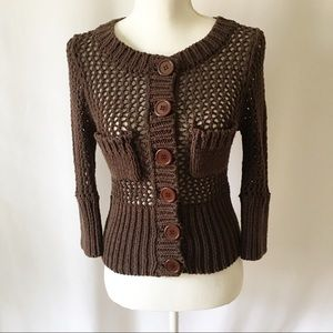 Free People | Brown Chunky Open Knit Sweater